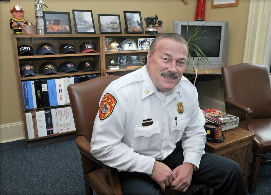 Middletown Fire Chief Gary Ouellette in his office during his retirement party Friday afternoon. Photo: Catherine Avalone — The Middletown Press / TheMiddletownPress