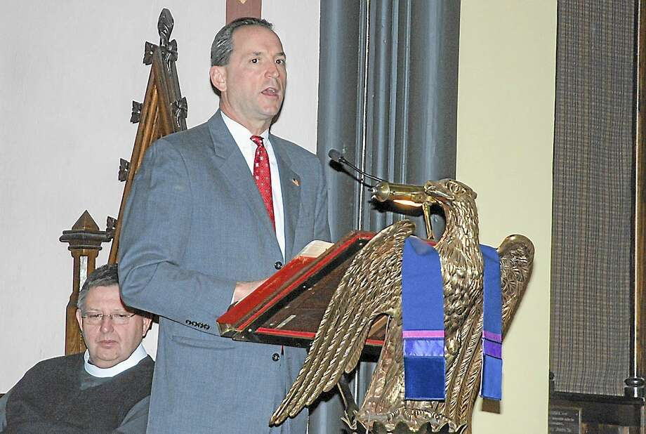 Democratic state Sen. Paul Doyle speaks to a crowd of approximately 150 people at the Church of the Holy Trinity in Middletown on Dec. 21, 2012, to commemorate National Homeless Person's Memorial Day. Photo: Submitted Photo