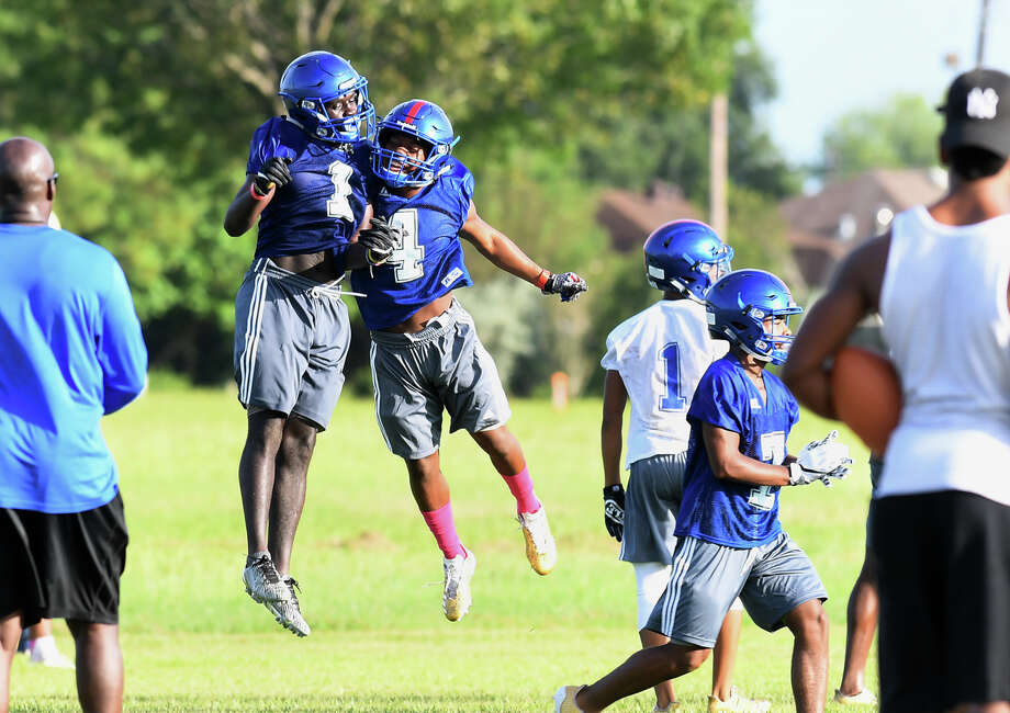 West Brook players celebrate during the Bruin's first practice on Monday. Photo taken Monday, August 14, 2017 Guiseppe Barranco/The Enterprise Photo: Guiseppe Barranco, Photo Editor / Guiseppe Barranco ©