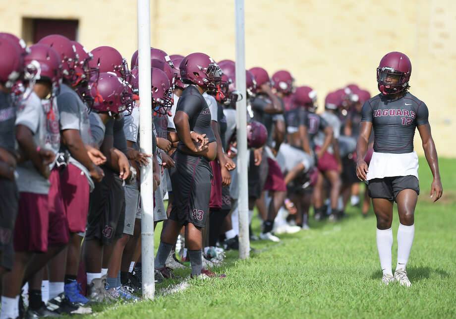 Central players run drills and plays during the Cougar's first practice of the season on Monday. Photo taken Monday, August 14, 2017 Guiseppe Barranco/The Enterprise Photo: Guiseppe Barranco, Photo Editor / Guiseppe Barranco ©