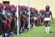 Central players run drills and plays during the Cougar's first practice of the season on Monday. Photo taken Monday, August 14, 2017 Guiseppe Barranco/The Enterprise