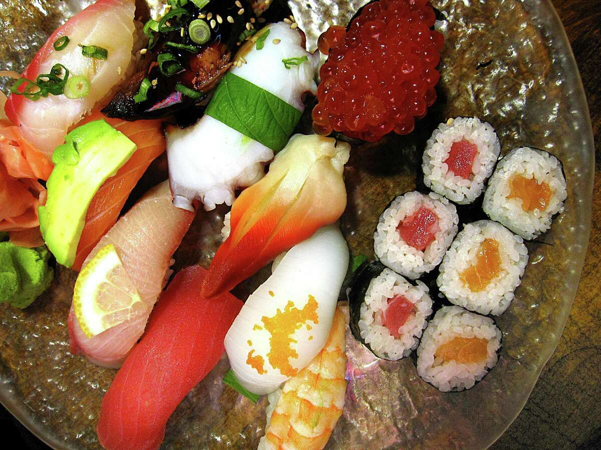 """Goro's Combo brings together nigiri (fish on rice) with tuna, salmon, eel, fish roe, squid, clam, octopus, shrimp and more for a respectable sampler of owner William """"Goro"""" Pitchfords skill at Godai Sushi Bar and Japanese Restaurant on West Avenue in San Antonio."""