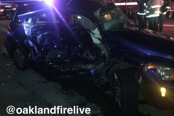 Five people, including two children, were injured in a two-car cash in East Oakland Wednesday night.