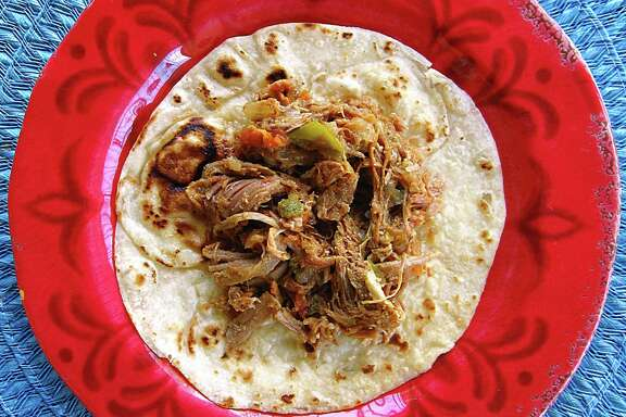 Brisket taco on a handmade flour tortilla from Vanessa's Mexican Food.