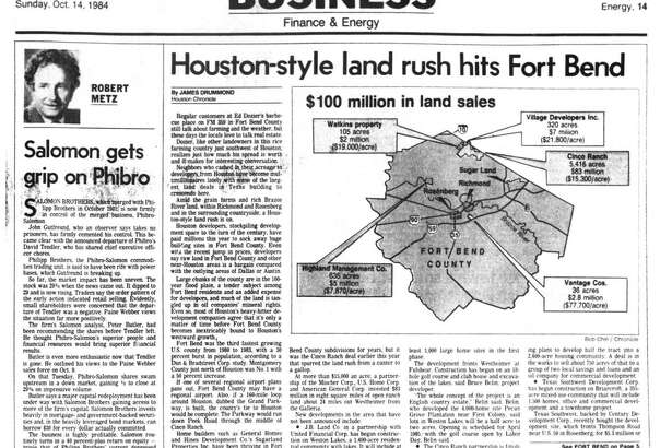 Houston Chronicle inside page - October 14, 1984 - section 4, page 1. Houston-style land rush hits Fort Bend.