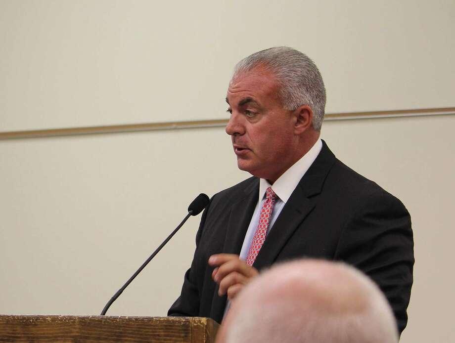 Director of School Business Operations Elio Longo speaks at an Aug. 2 Board of Finance meeting in Westport. Photo: Laura Weiss / Hearst Connecticut Media / Westport News