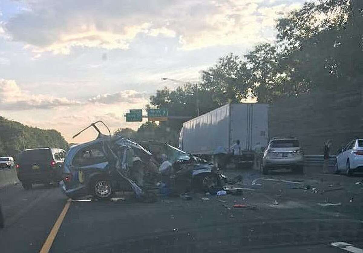 A multi-vehicle crash on I-95 north in Greenwich caused big traffic delays during Thursday morning's commute on Aug. 17, 2017. The accident that happened around 6:30 a.m. jammed traffic for hours. At one point, two lanes were blocked northbound between Exits 4 and 3.