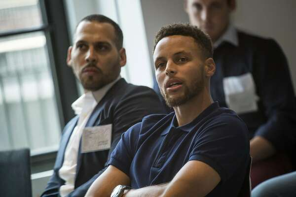 Stephen Curry, a professional basketball player with the National Basketball Association's (NBA) Golden State Warriors, speaks during The Players Technology Summit in San Francisco, California, U.S., on Tuesday, Aug. 15, 2017. Top leaders in the tech community and venture capital met with professional athletes to exchange ideas and share expertise through panels, discussions and interactive networking to help athletes take control of their careers as business professionals. Photographer: David Paul Morris/Bloomberg