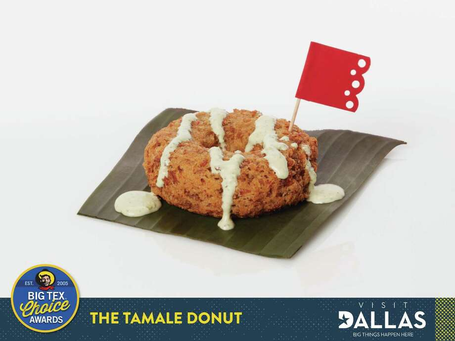 """Justin Martinez came up with Tamale Donut, which uses traditional masa, slow-cooked pork and Mexican seasonings. It is served topped with a jalapeño cream sauce on a banana leaf. It is one of five finalists in the """"savory"""" category of the 2017 Big Tex Choice Awards. Photo: Courtesy Of The State Fair Of Texas"""