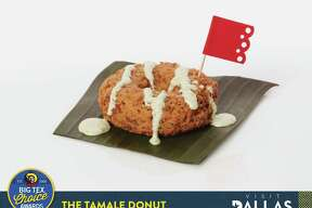 "Justin Martinez came up with Tamale Donut, which uses traditional masa, slow-cooked pork and Mexican seasonings. It is served topped with a jalapeño cream sauce on a banana leaf. It is one of five finalists in the ""savory"" category of the 2017 Big Tex Choice Awards."