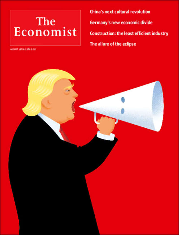 The most recent issue of The Economist magazine features President Trump using a KKK hood as a megaphone on the cover. Photo: Economist