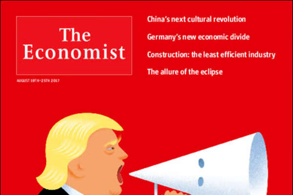 The most recent issue of The Economist magazine features President Trump using a KKK hood as a megaphone on the cover.