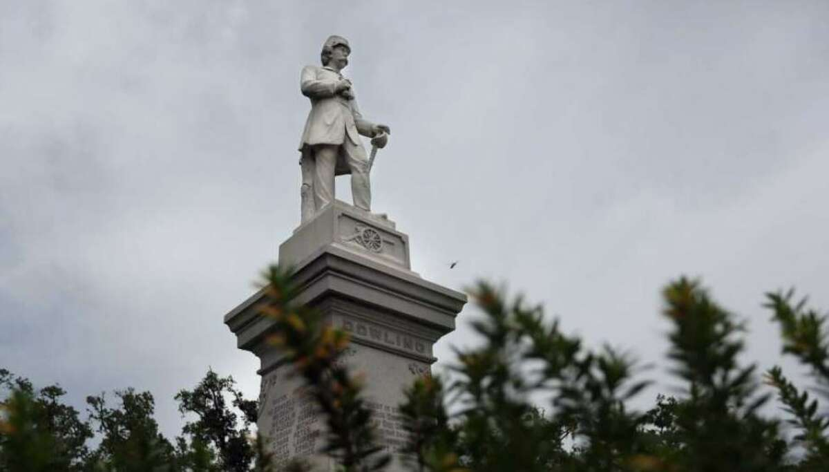 Confederate Dick Dowling's statue stands at the Cambridge Street entrance to Hermann Park.