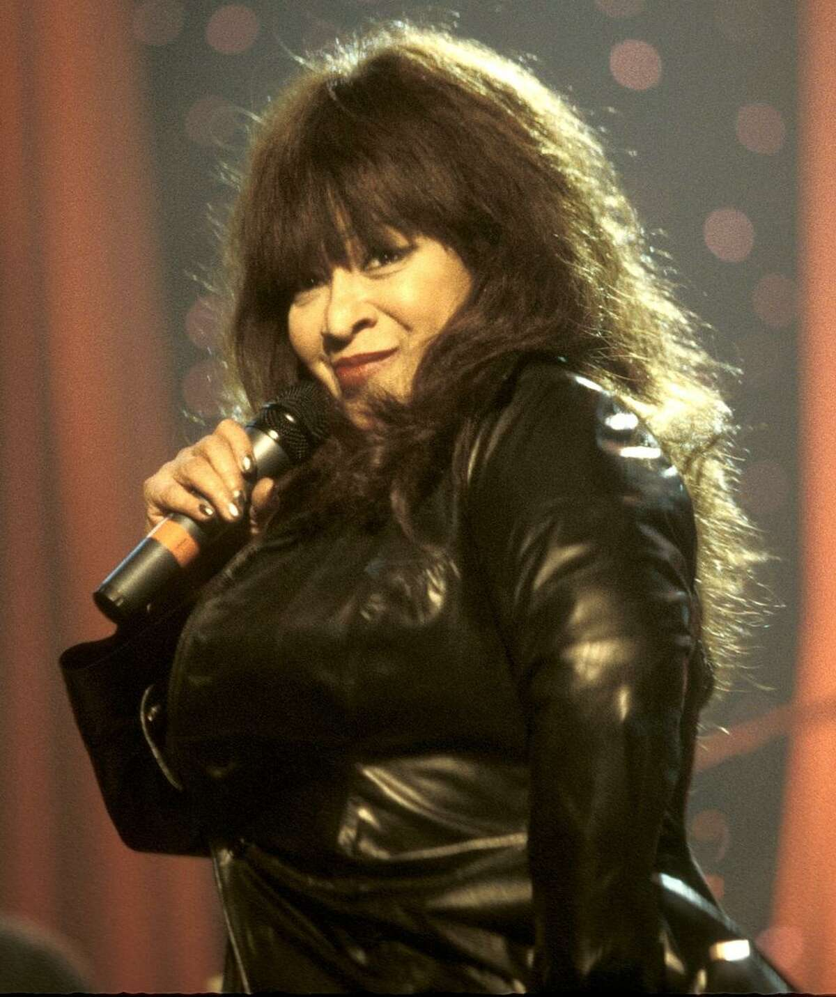 Singer of the girl group The Ronettes, Ronnie Spector, born Veronica Yvette Bennett, is shown performing on stage during a