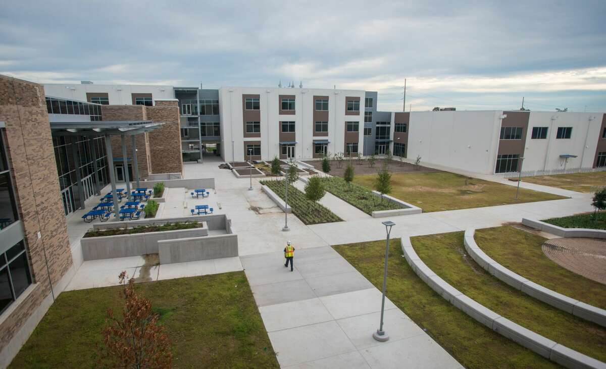 Milby High School's new courtyard shows the blending of the old building with the new addition. The LEED Silver-certified school was built in 1926.