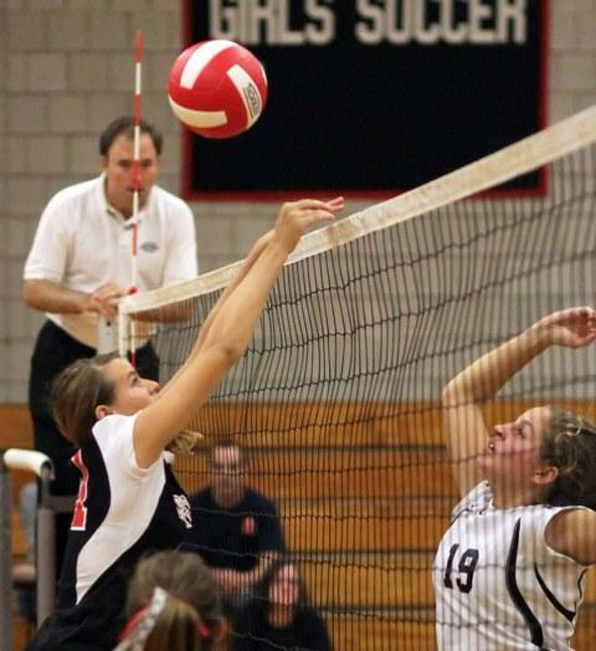 Valley Regional's Allie McDougall bumps a pass to the front line in Valley's girls volleyball game against Cromwell on Wednesday. Valley won, 3-2.