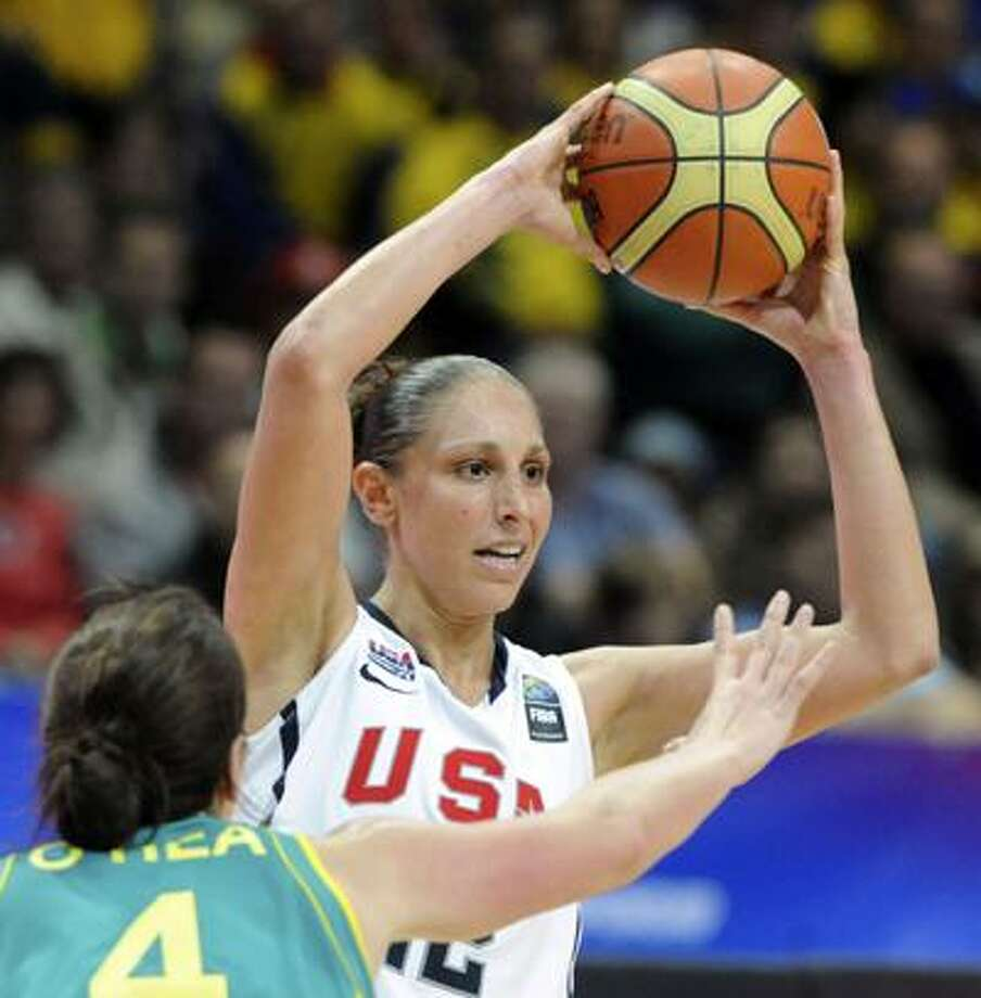 Diana Taurasi of USA, right, challenges Jenna O´Hea of Australia, left, during their World Basketball Championship round of 16 match in Ostrava, Czech Republic, Wednesday. (AP) Photo: AP / CTK
