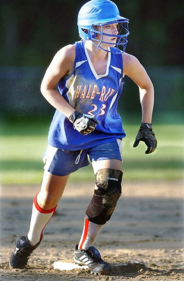 Hale-Ray shortstop Melissa Martin's bat was on fire against Haddam-Killingworth in the Shorline Conference semifinals at the Lou Milardo Field in Moodus Friday.(Catherine Avalone / The Middletown Press)