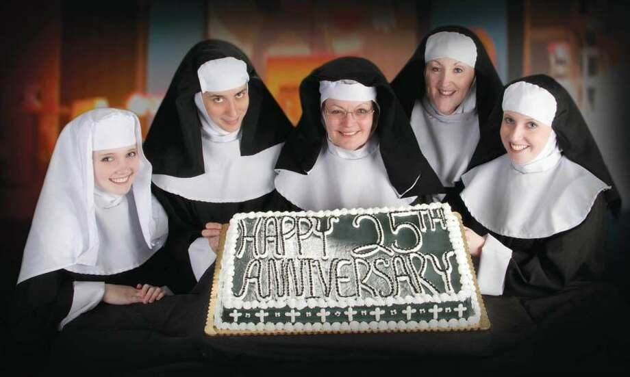"""From left to right, Hayley Pearl Overturf, Mary Sawyer, Lynne Mazotas, Maurreen Pollard and Stacy Constantine. """"Nunsense"""" opens for a three-week run on June 4 at the historic Town Hall Theater, 174 Main St., Deep River. Performances will run Fridays and Saturdays at 8 p.m. and Sundays at 2 p.m. For tickets and more information, contact the Phoenix Theater at (860) 291-2988 or visit <a href=""""http://www.phoenixtheater.us"""">www.phoenixtheater.us</a>. (Contributed photo)"""