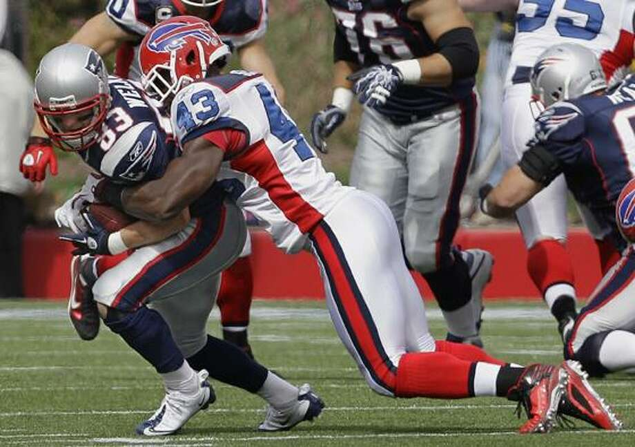 New England Patriots wide receiver Wes Welker (83) is hit by Buffalo Bills safety Bryan Scott (43) during the first quarter of their NFL football game in Foxborough, Mass., Sunday. (AP Photo/Stephan Savoia) Photo: AP / AP