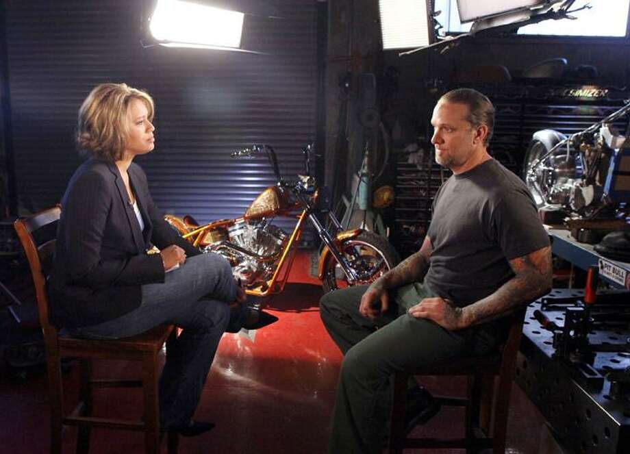 """In this publicity image released by ABC, correspondent Vicky Mabrey, left, is shown with Jesse James, husband of actress Sandra Bullock during an interview for """"Nightline,"""" on Wednesday May 12, 2010, in Long Beach, Calif. The interview will air on Tuesday, May 25, at 11:35 p.m. EST on ABC. (AP) Photo: AP / 2010 American Broadcasting Companies, Inc."""