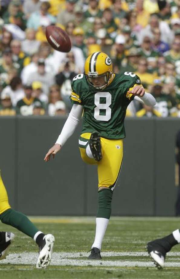 AP Green Bay Packers punter Tim Masthay punts during the second half of an NFL football game against the Buffalo Bills in Green Bay, Wis. Masthay has perhaps been the Packers' most improved player since then, and is coming off perhaps his best performance of the season in the Packers' NFC championship game victory in Chicago.