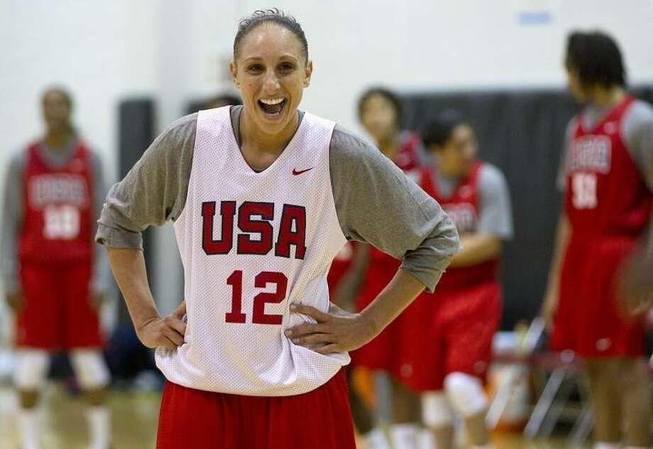 Diana Taurasi jokes with teammates during the U.S. women's national basketball team practice, Tuesday, May 10, 2011, in Las Vegas.  (AP Photo/Julie Jacobson) Photo: ASSOCIATED PRESS / AP2011