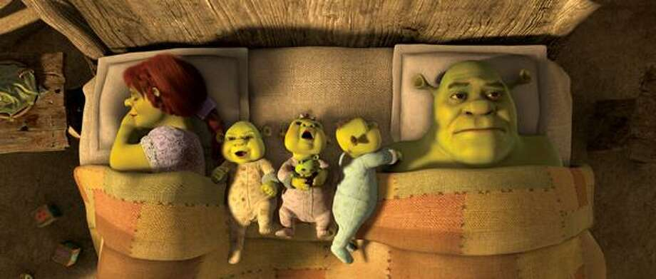"""In this film publicity image released by Paramount Pictures, Fiona, voiced by Cameron Diaz, left, and Shrek, voiced by Mike Myers, right, are shown in a scene from, """"Shrek Forever After."""" (AP) Photo: ASSOCIATED PRESS / AP2010"""