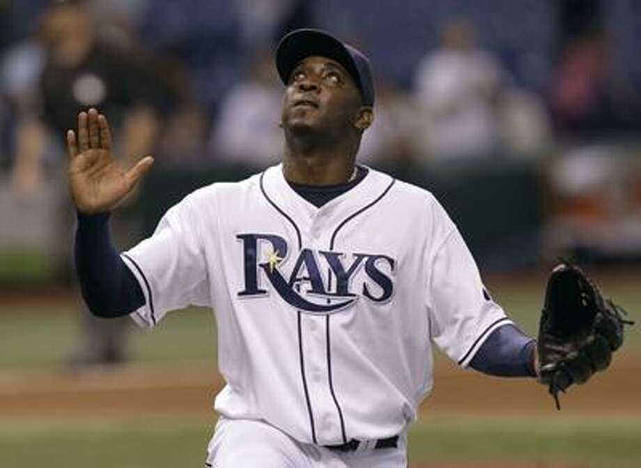 Tampa Bay Rays closer Rafael Soriano racts after picking up the save in the Rays 5-3 win over the Seattle Mariners during a baseball game Friday, Sept. 24, 2010, in St. Petersburg, Fla. (AP) Photo: AP / AP