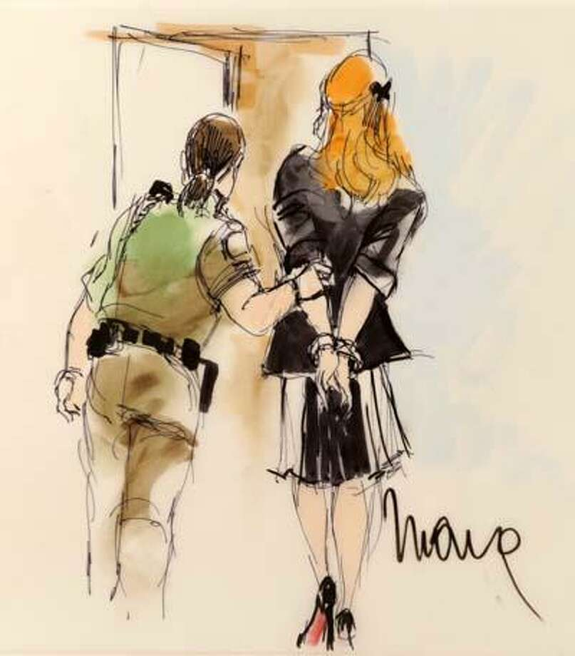 A courtroom sketch of the Lindsay Lohan hearing at the Beverly Hills Courthouse in Beverly Hills, Calif., Friday. (AP) Photo: AP / AP