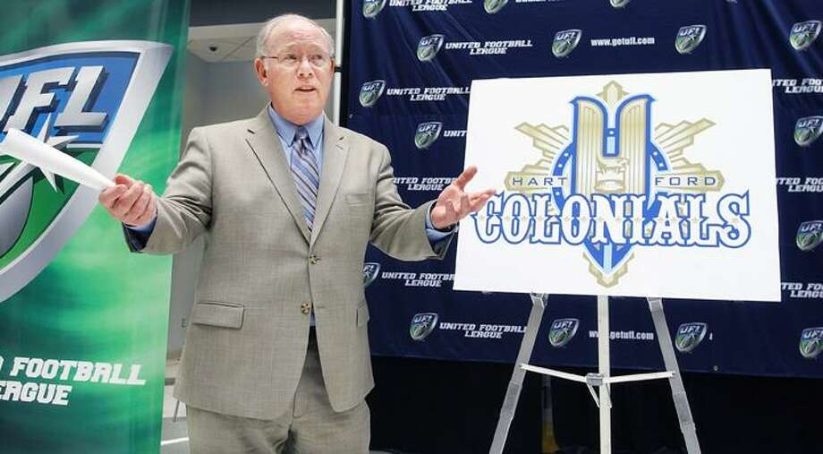 Hartford Colonials head coach Chris Palmer speaks at a press conference Monday introducing the team's new logo. (Catherine Avalone / The Middletown Press)