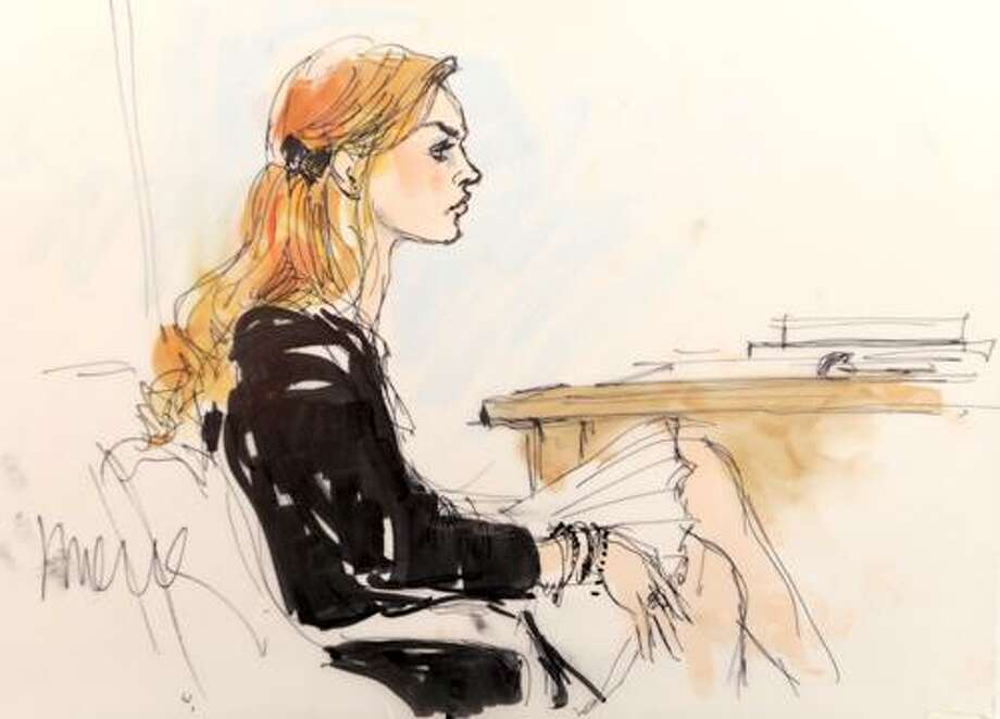 A courtroom sketch of the Lindsay Lohan hearing at the Beverly Hills Courthouse in Beverly Hills, Calif., Friday, Sept. 24, 2010. (AP Photo/Chris Pizzello) Photo: ASSOCIATED PRESS / AP