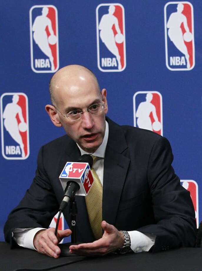 "FILE - This May 17, 2011 file photo shows NBA deputy commissioner Adam Silver during a news conference before the 2011 NBA Draft Lottery,  in Secaucus, N.J.  The NBA postponed training camps indefinitely and canceled 43 preseason games Friday, Sept. 23, 2011,  because it has not reached a new labor deal with players. ""We have regretfully reached the point on the calendar where we are not able to open training camps on time and need to cancel the first week of preseason games,""  Silver said in a statement. ""We will make further decisions as warranted."" (AP Photo/Julio Cortez, File) Photo: AP / AP2011"