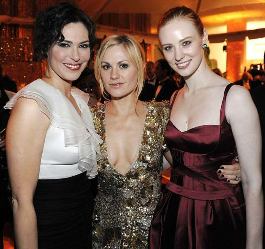 From left to right, actress Michelle Forbes, actress Anna Paquin, and actress Deborah Ann Woll at the HBO Golden Globe party in Beverly Hills, Calif. on Sunday. (AP) Photo: AP / R-STEINBERG