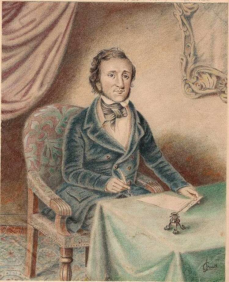 A portrait of Edgar Allan Poe released Monday by via Cliff Krainik is seen. The small watercolor by A.C. Smith shows Poe sitting at desk with pen and paper in hand. His famous mustache is missing, and there's the slightest hint of a smile on his face. The portrait will be unveiled on Saturday, Jan. 23, to the public in Baltimore as part of Poe's birthday celebration. Krainik, plans to sell the portrait at auction later this year. Auctioneer Wes Cowan expects it to sell for $30,000 to $50,000 and he says that's a conservative estimate. (AP) Photo: AP / A.C. Smith