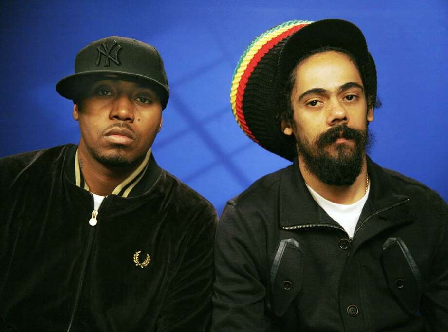 In this April 2, 2010, file photo, recording artists Nas, left, and Damian Marley pose for a photograph in New York. (AP) Photo: AP / AP2010