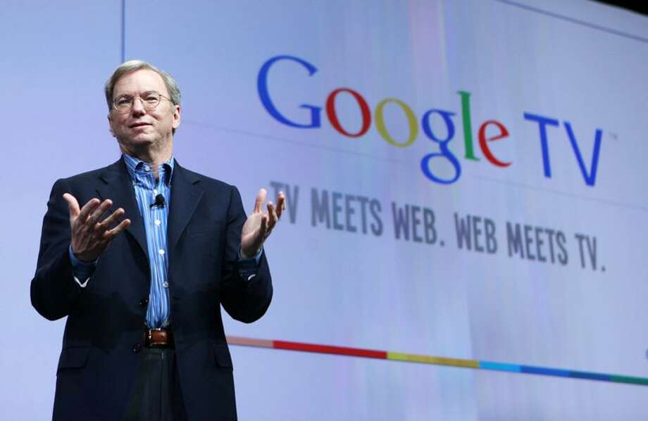 Google CEO Eric Schmidt talks about Google TV at the Google conference in San Francisco, Thursday. Google Inc. believes it has come up with the technology to unite Web surfing with channel surfing on televisions.(AP) Photo: AP / AP