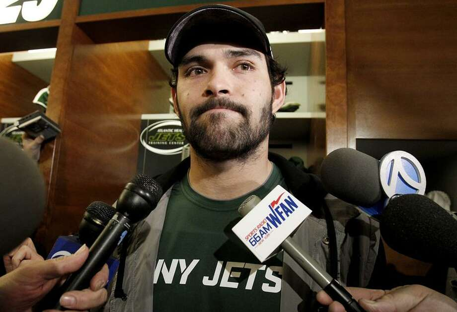 New York Jets quarterback Mark Sanchez talks to reporters before cleaning out his locker, Monday, Jan. 24, 2011 in Florham Park, N.J. The Jets lost to the Pittsburgh Steelers 24-19 in the AFC championship a day earlier. (AP Photo/Julio Cortez)