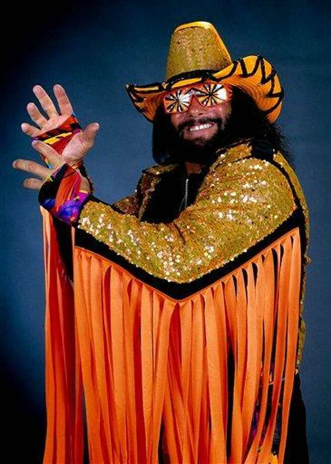 "In this undated publicity image released by WWE, professional wrestler Randy ""Macho Man"" Savage is shown. Savage, whose legal name is Randy Mario Poffo, died in a car crash in Florida on Friday, May 20, 2011, according to a Florida Highway Patrol crash report. (AP Photo/WWE) ** NO SALES ** Photo: AP / WWE"