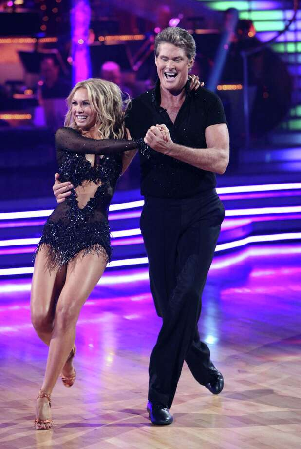 "In this publicity image released by ABC, David Hasselhoff, right, and his partner Kym Johnson perform on the celebrity dance competition show, ""Dancing with the Stars,""  on Monday, Sept. 20, 2010 in Los Angeles. (AP Photo/ABC, Adam Larkey) Photo: ASSOCIATED PRESS / American Broadcasting Companies, Inc."