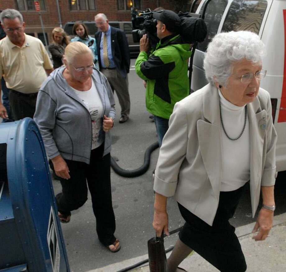 Day 2 Komisarjevsky trial in New Haven. The Petit family including Barbara, his mother at right and father William at rear of group. Photo by Mara Lavitt/New Haven Register9/20/11