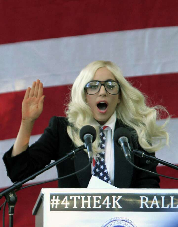 """Recording artist Lady Gaga speaks at a rally in support of repealing the military's """"don't ask, don't tell"""" policy for gay service members, in Portland, Maine, on Monday, Sept. 20, 2010. (AP Photo/Pat Wellenbach) Photo: ASSOCIATED PRESS / AP"""
