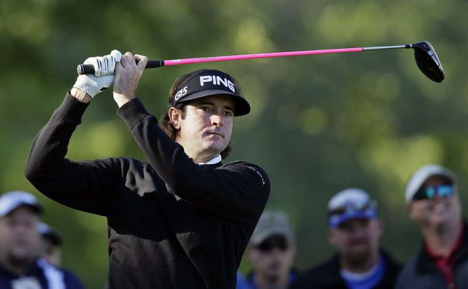 Bubba Watson watches a tee shot on the 15th hole during the first round of the Wells Fargo Championship golf tournament at Quail Hollow Club in Charlotte, N.C., Thursday, May 5, 2011. (AP Photo/Gerry Broome) Photo: ASSOCIATED PRESS / AP2011