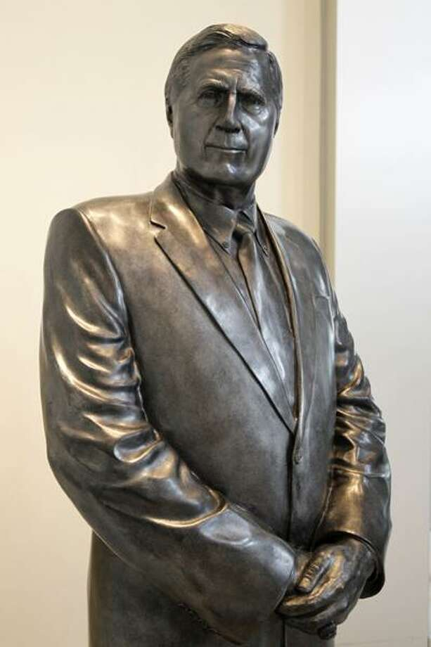 A statue of New York Yankees principal owner George M. Steinbrenner is displayed in the lobby of Yankee Stadium in New York, Tuesday, July 13, 2010. (AP) Photo: ASSOCIATED PRESS / AP