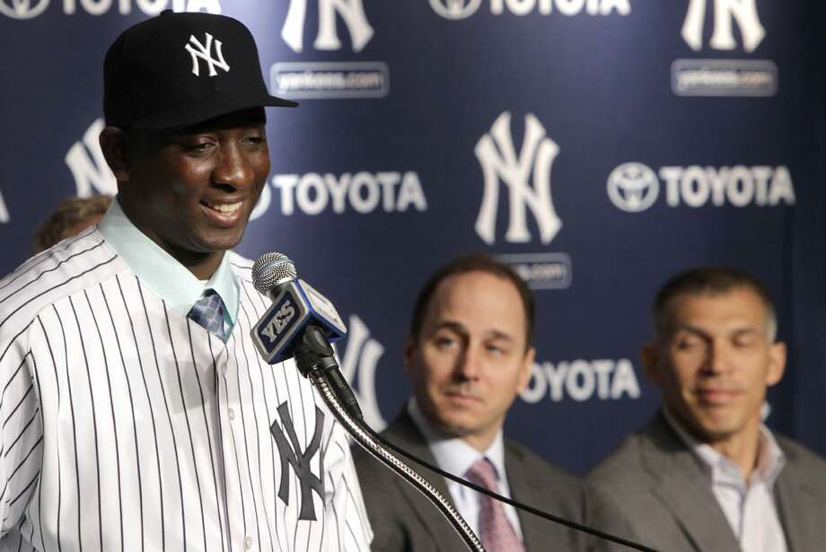Pitcher Rafael Soriano is introduced during a news conference Wednesday, Jan 19, 2011, at Yankee Stadium in New York. The Yankees signed the all-star right-hander to a three year deal. (AP Photo/Seth Wenig)