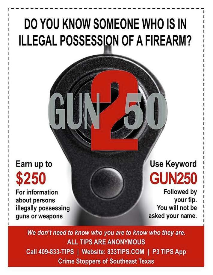 Southeast Texas Crime Stoppers revealed a new program, Gun 250 on Aug. 17, 2017. Aimed at encouraging people to submit tips about illegal weapons, residents can earn up to $250. Photo: Beaumont Police Department