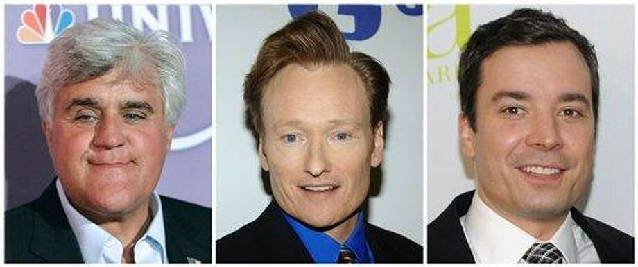 "(AP) In this combo made from file photos, NBC talk show personalities, from left, Jay Leno, Conan O'Brien, and Jimmy Fallon are shown. NBC decided to end the Jay Leno experiment when some of its affiliates started talking about dropping the nightly prime-time show, NBC Universal Television Entertainment Chairman Jeff Gaspin said Sunday. NBC wants Leno to do an 11:35 p.m. show each night, and Gaspin has proposed moving Conan O'Brien's ""Tonight"" show to 12:05 a.m., and Jimmy Fallon's show would start an hour later. Photo: AP / AP"