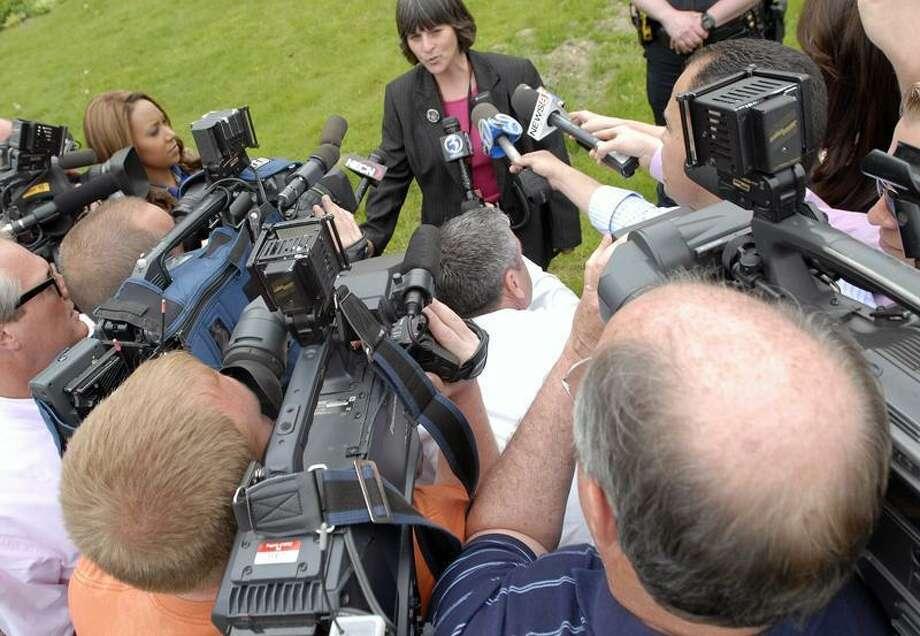 Shelton High School Headmaster Beth A. Smith speaks to the media at the school Friday. Brad Horrigan/Register