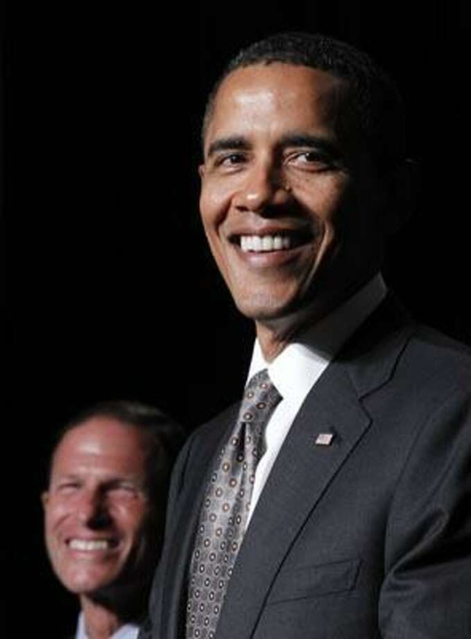 President Barack Obama, right, with Connecticut Attorney General and Democrat candidate for US Senate Richard Blumenthal, left, during a fundraiser in Stamford, Conn., Thursday, Sept. 16, 2010. Blumenthal is running in the Nov. 2 general election to fill the seat being vacated by the retirement of Sen. Christopher Dodd, D-Conn. (AP Photo/Pablo Martinez Monsivais) Photo: AP / AP