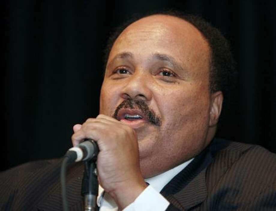 FILE - In this July 31, 2006 file photo, Martin Luther King III speaks at the Southern Christian Leadership Conference, in Dayton, Ohio. The son of Martin Luther King Jr. said Saturday, Jan. 15, 2011, that the recent shootings in Arizona that killed six and left a congresswoman critically wounded show the work of his father must continue.  (AP Photo/David Kohl, File) Photo: AP / AP2006